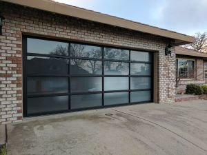 modern glass garage door