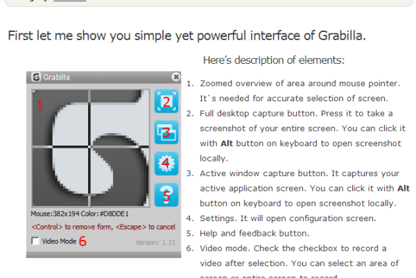 Grabilla Sample Screenshot