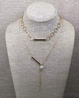 Two shinning layered Chokers Necklace with long Chain