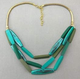 Multilayered Structured with Wooden Green Beaded Necklace