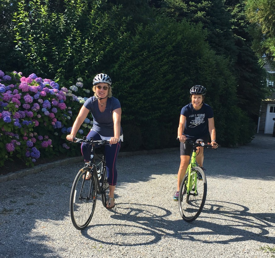 Linda and Diane heading out on the bike