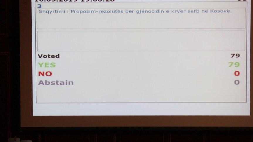 Скупштина Косова: Усвојена Резолуција о геноциду