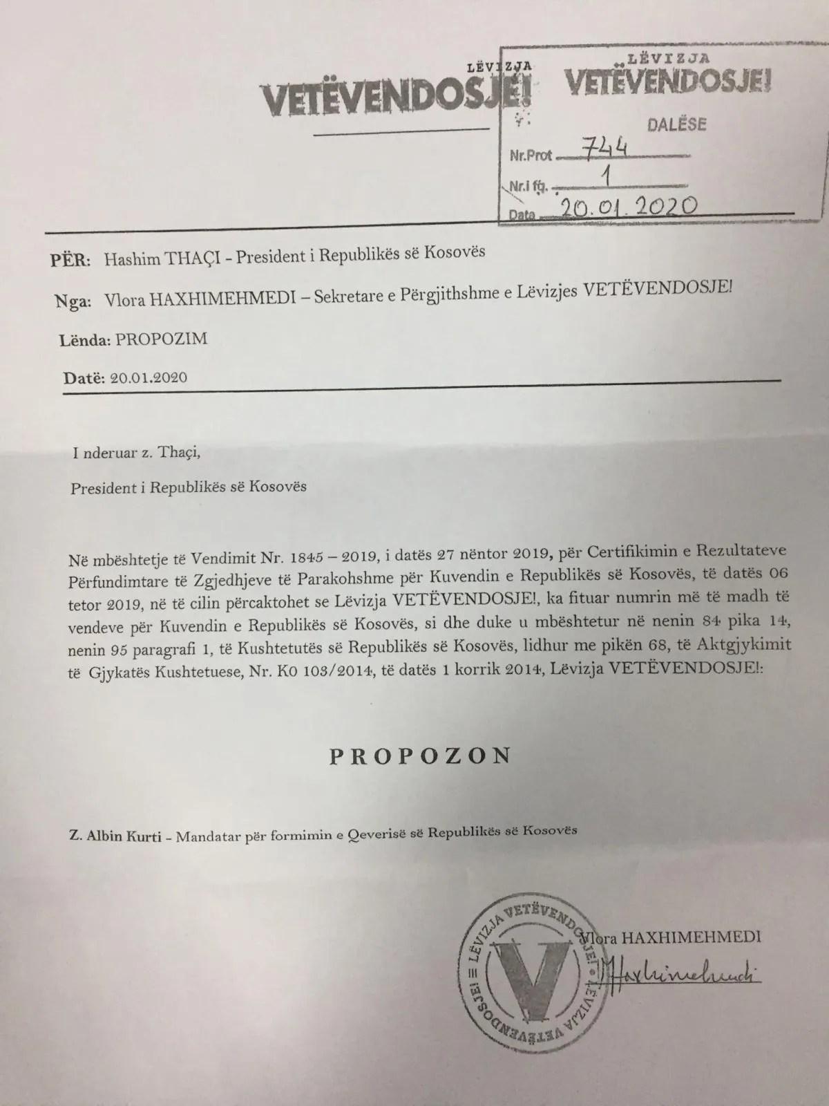 Покрет Самоопредељење предложио Аљбина Куртија за премијера