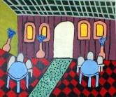 "untitled (cafe) 16"" x 20"" acrylic on board 2006"
