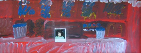 "McDonalds 18"" x 47"" Mixed Media on Masonite 2004"