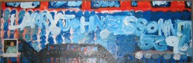 """Playful Larry Looks Out on Futuristic Land of Creativity and Identity Finding 16"""" x 47"""" Mixed Media on Masonite 1996"""