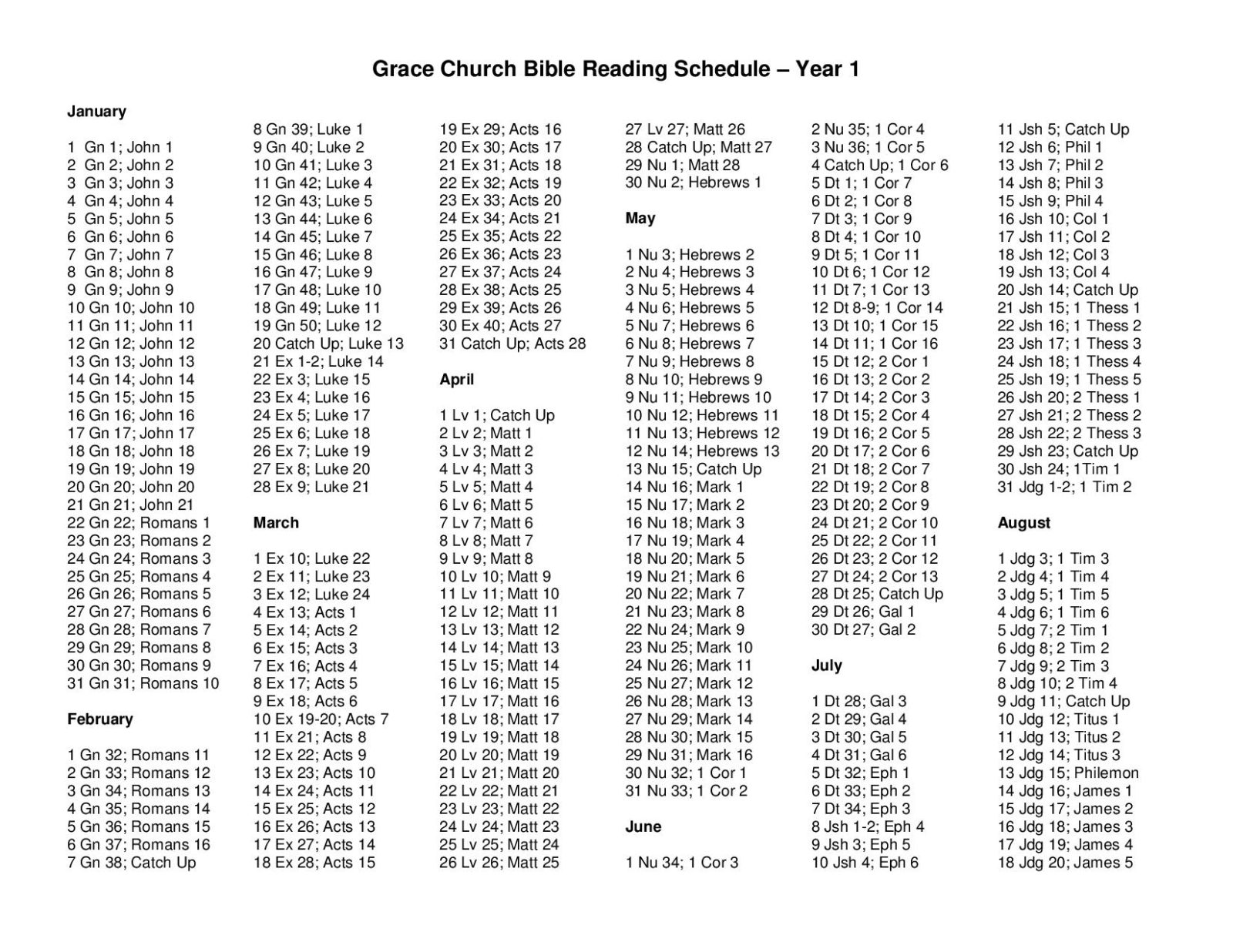 Two Year Reading Schedule - Year 1-page-001