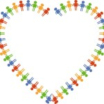 Ranibow color heart composed of people shapes.