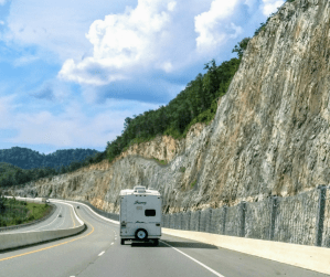 RV on the road to Appalachian Mountains