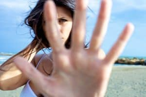 girl with hand stop