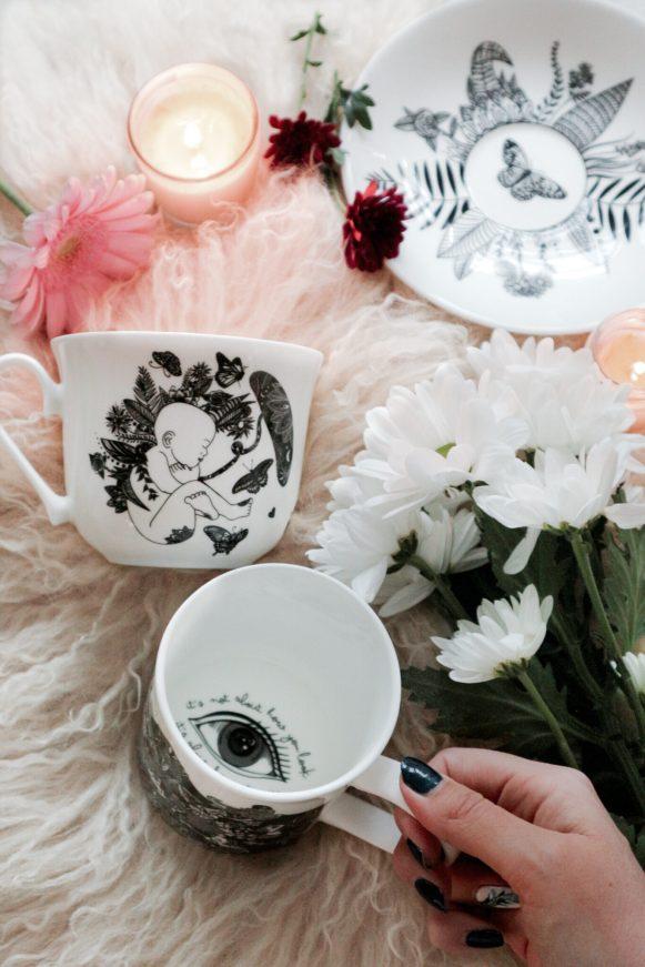 Scruffy Little Herbert secret message mug designs & teacup set