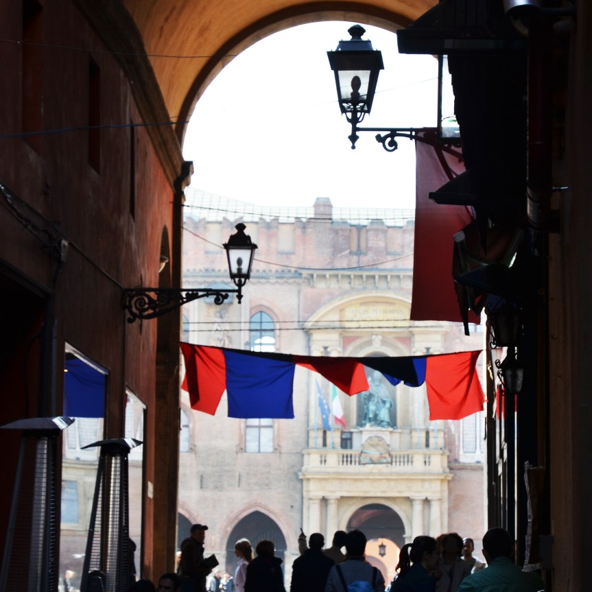 Bologna's historical center looking toward Piazza Maggiore