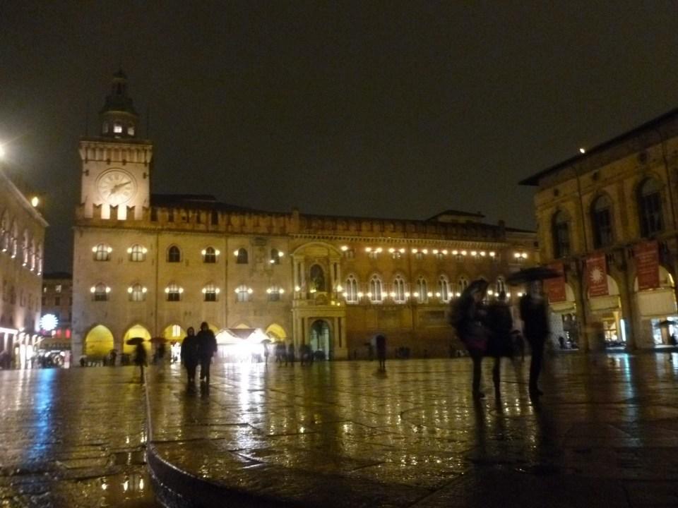 Piazza Maggiore during a night spring rain.