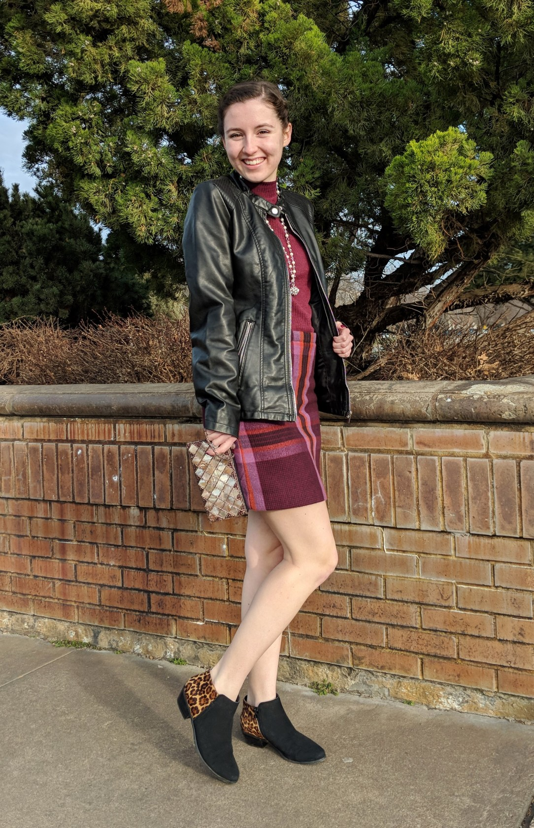 plaid skirt, leopard booties, pattern mixing, fall outfit