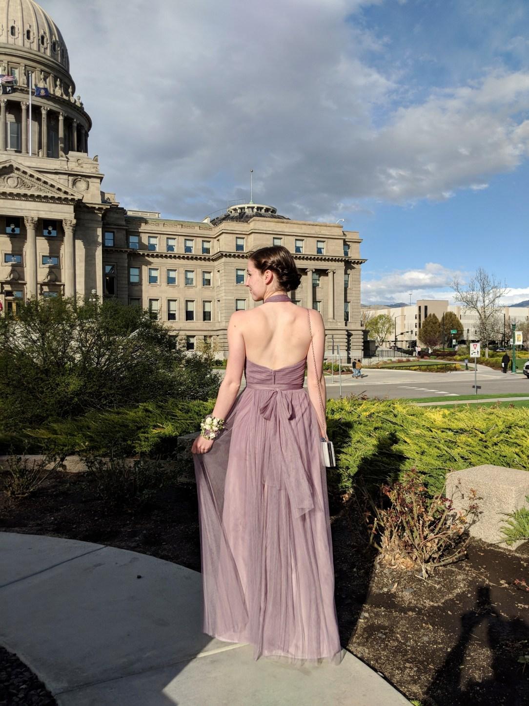 mauve purple prom dress