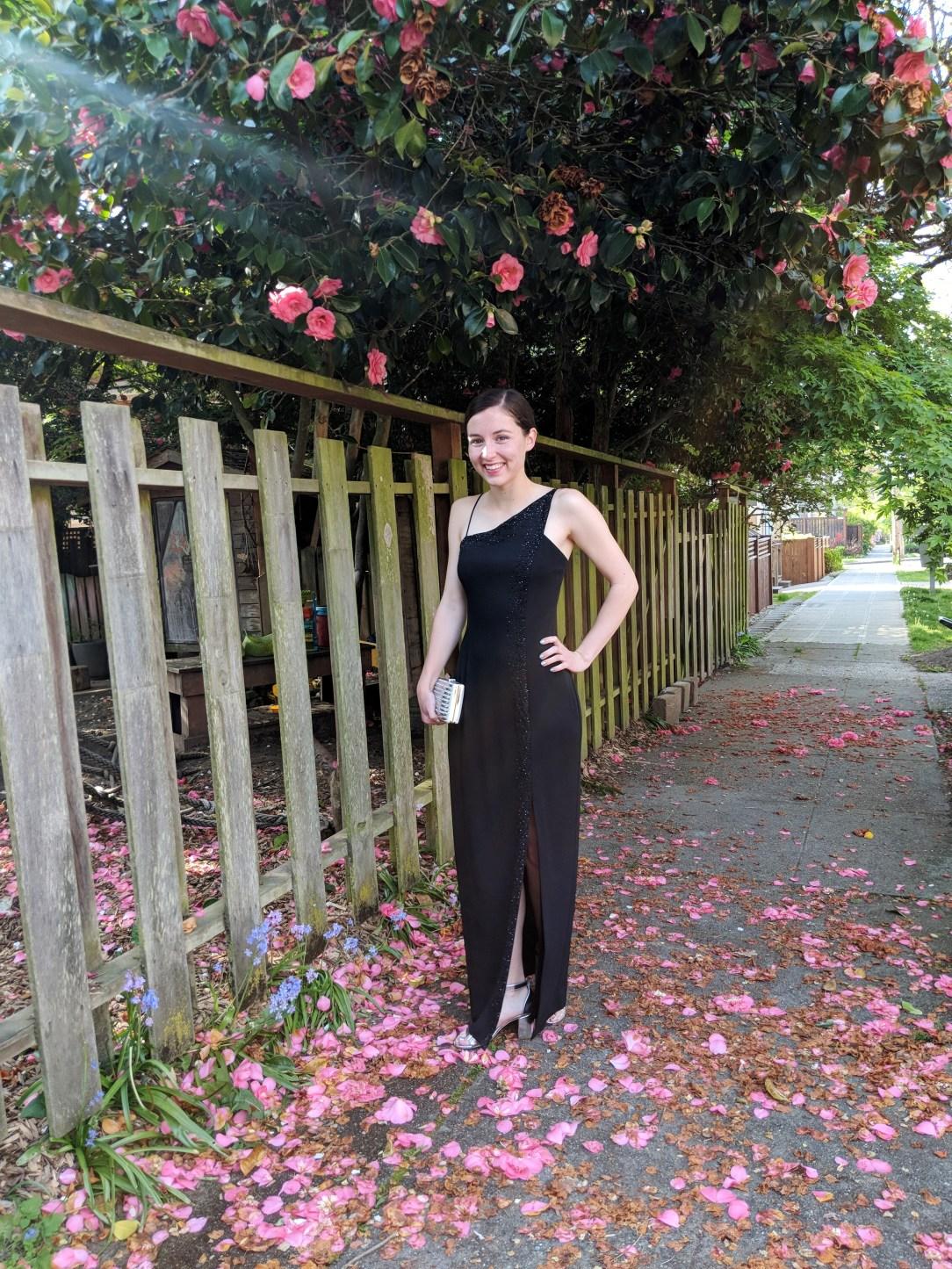 black prom gown, silver clutch