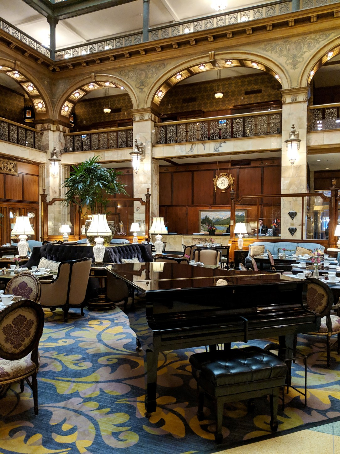 high tea in Denver at the Brown Palace Hotel