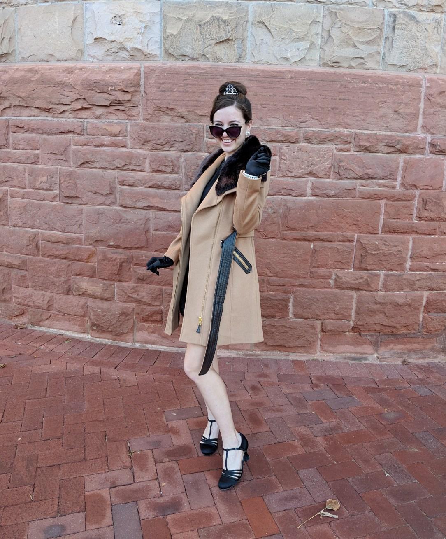 beautiful camel coat tiara Audrey Hepburn