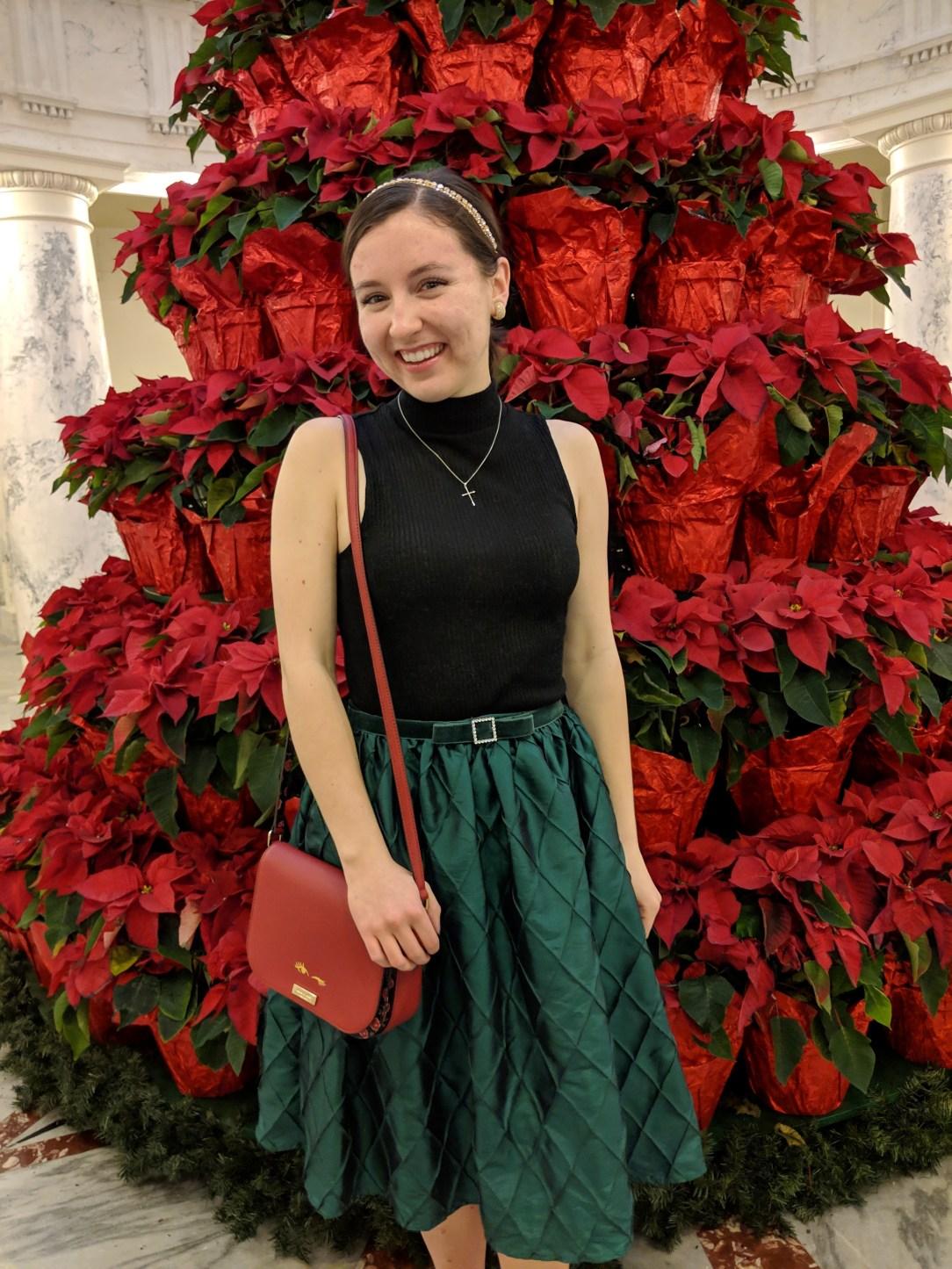 green Christmas midi skirt black blouse