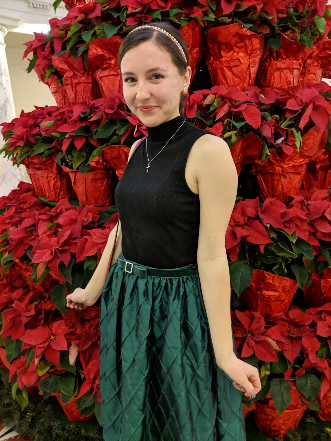 green Christmas dress turned into a skirt