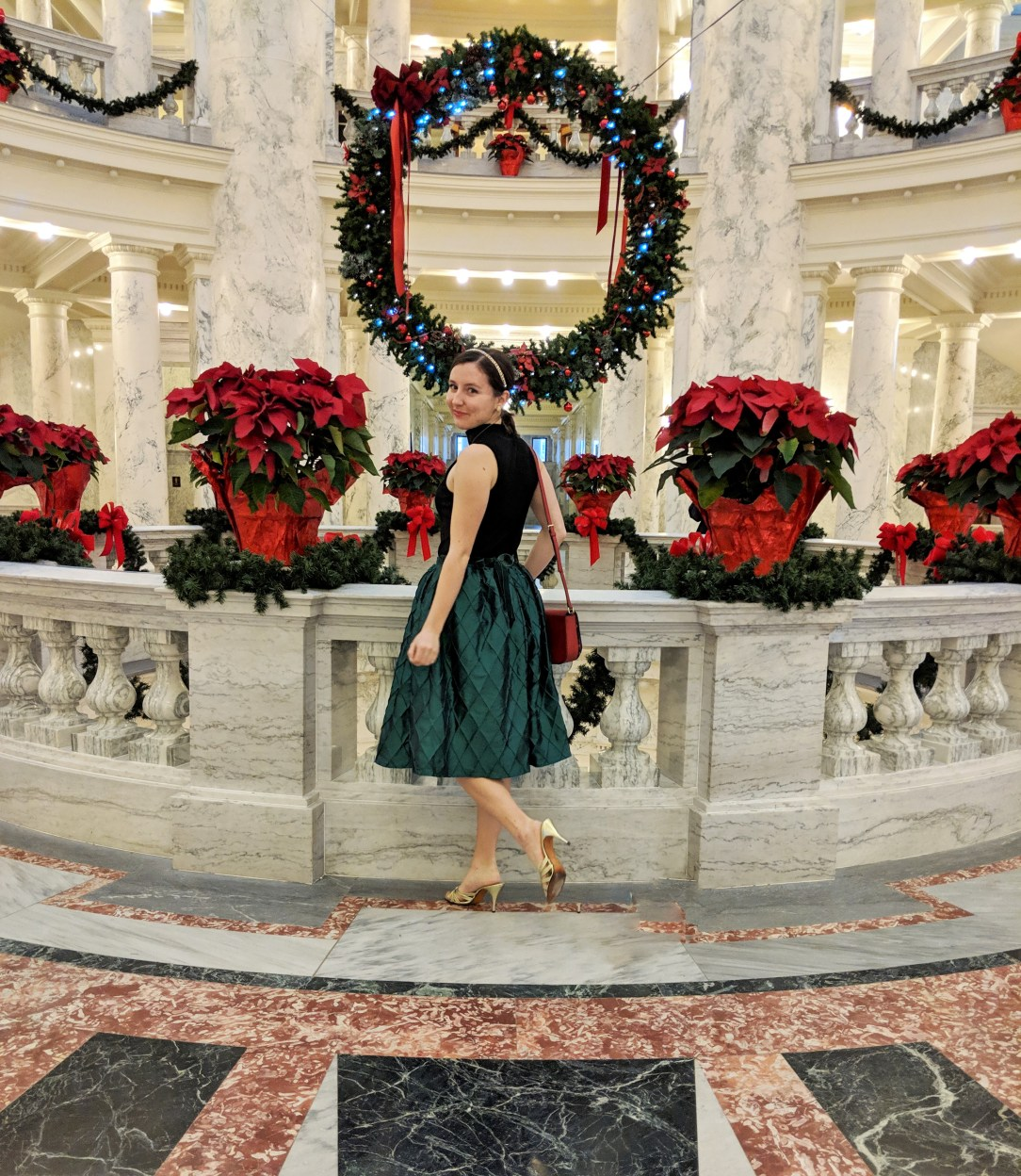 Christmas outfit, holiday outfit, green midi skirt