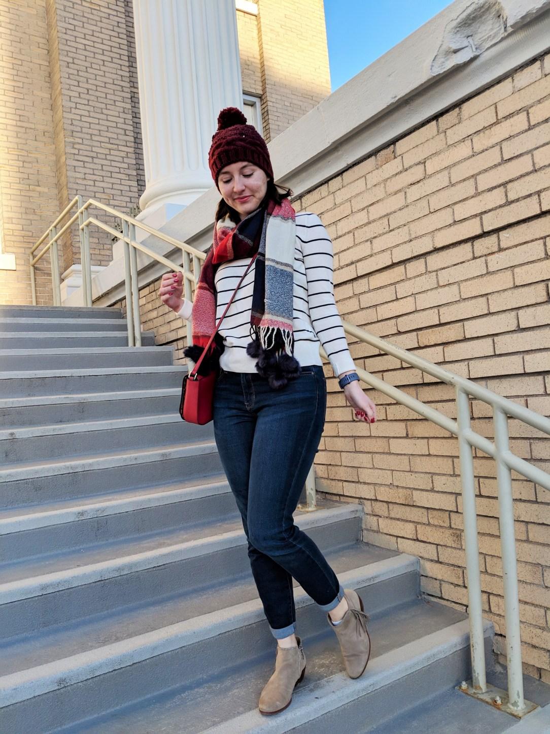 striped sweater plaid scarf
