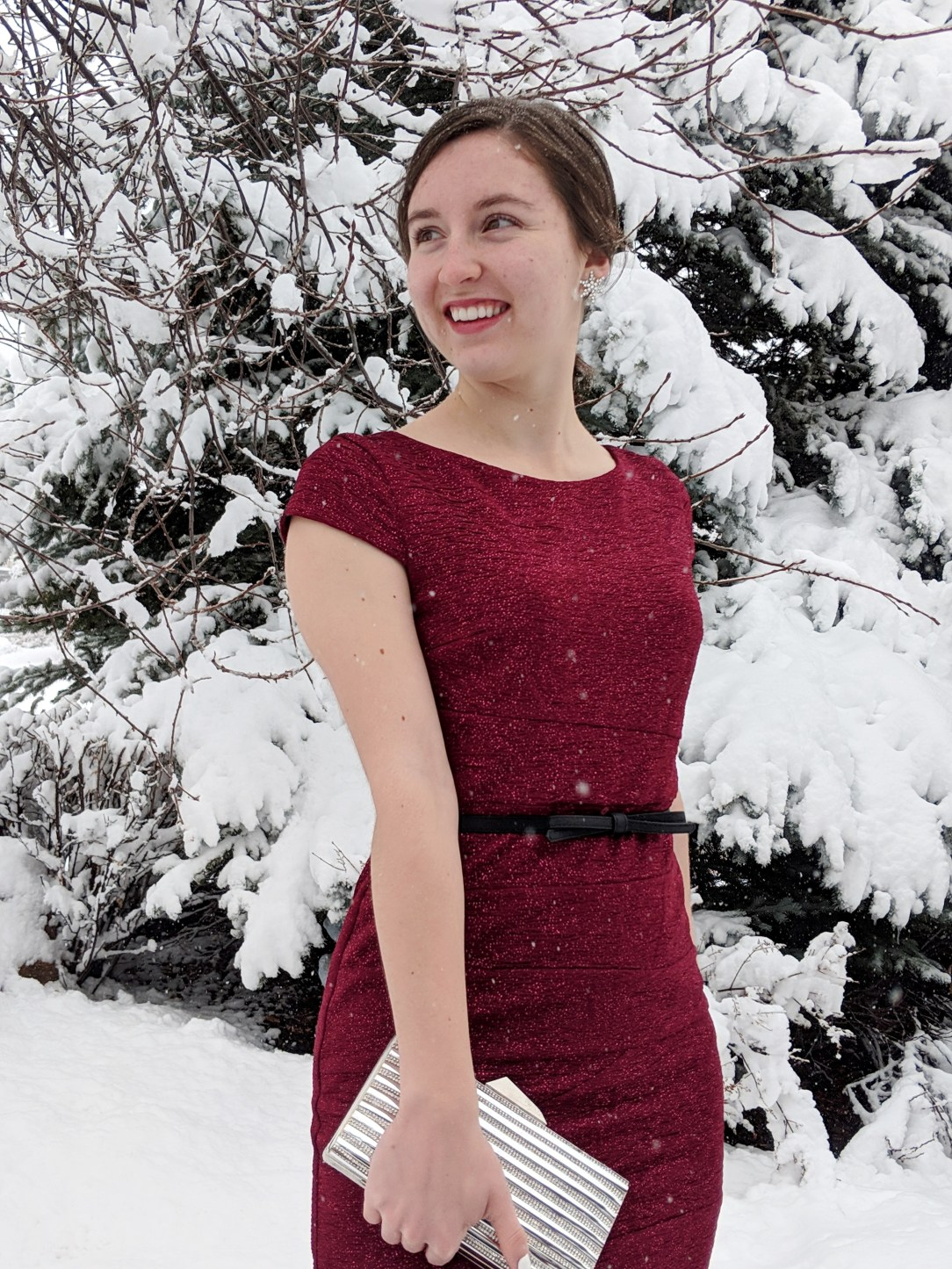 red holiday dress bow belt