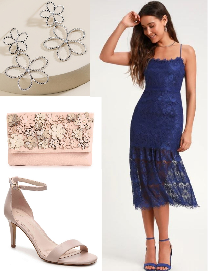 blue mid-length lace dress, neutral heels, blush floral clutch, flower earrings