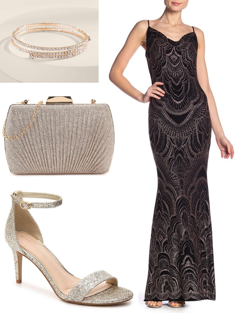 20s black glittery gown, gold heels, gold clutch, sparkly gold bracelet