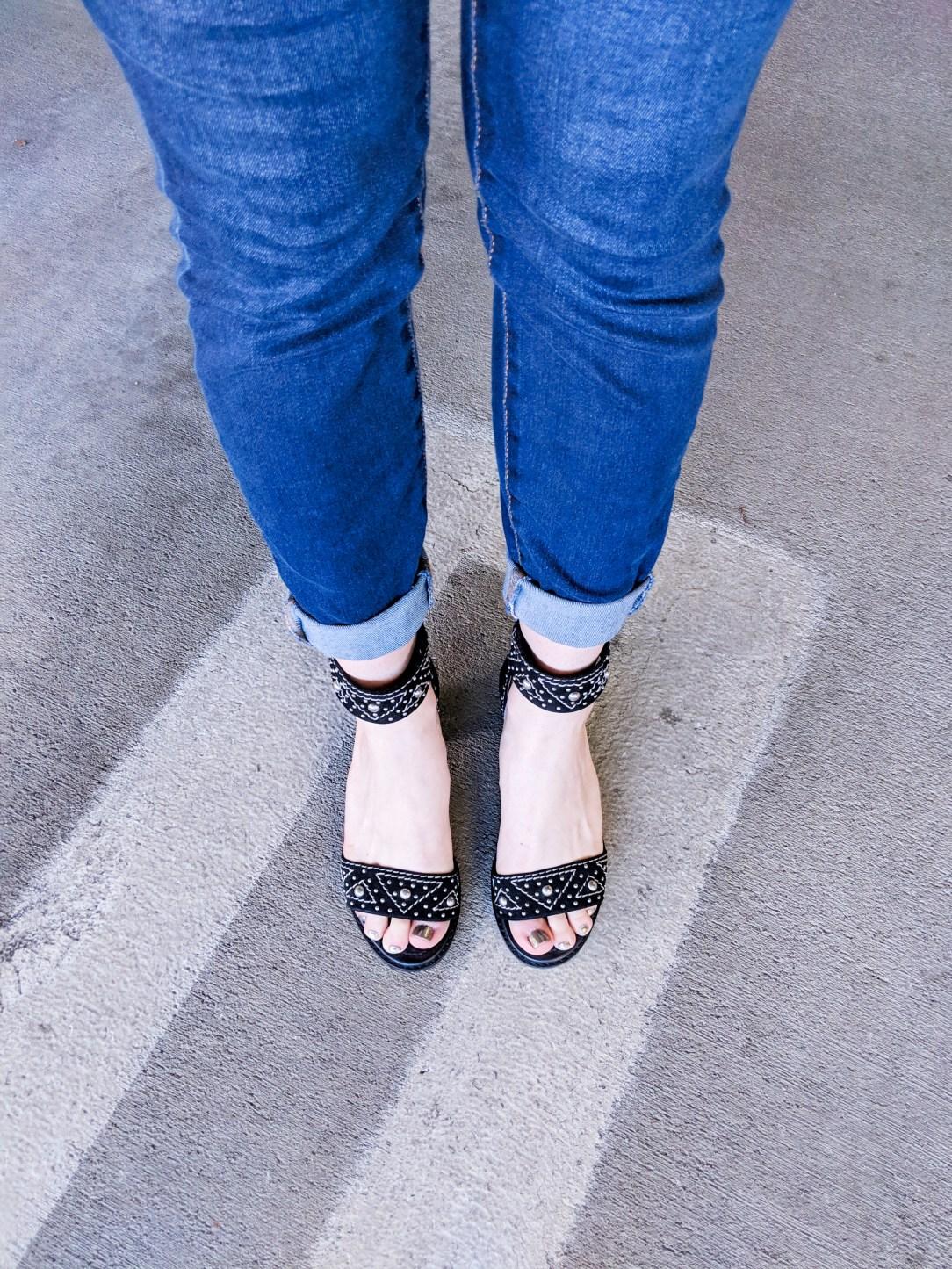 Frye black stud block heels