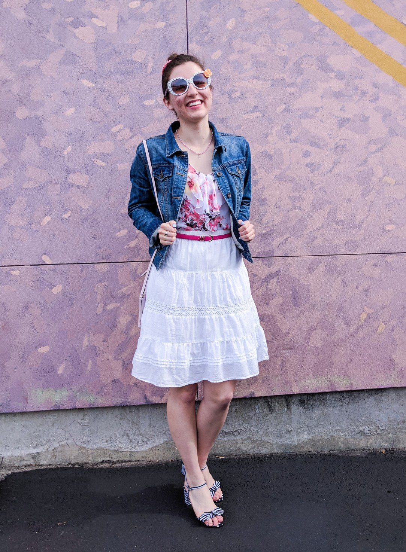 floral blouse, white peasant skirt, denim jacket