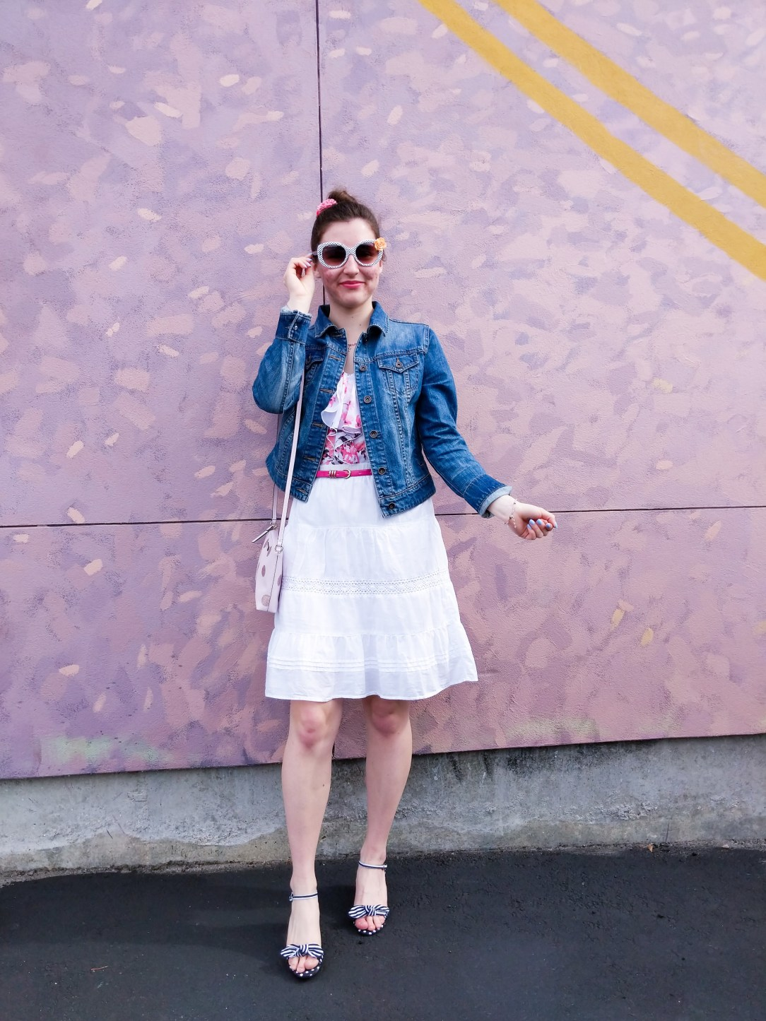 jean jacket, floral blouse, white skirt, striped bow shoes