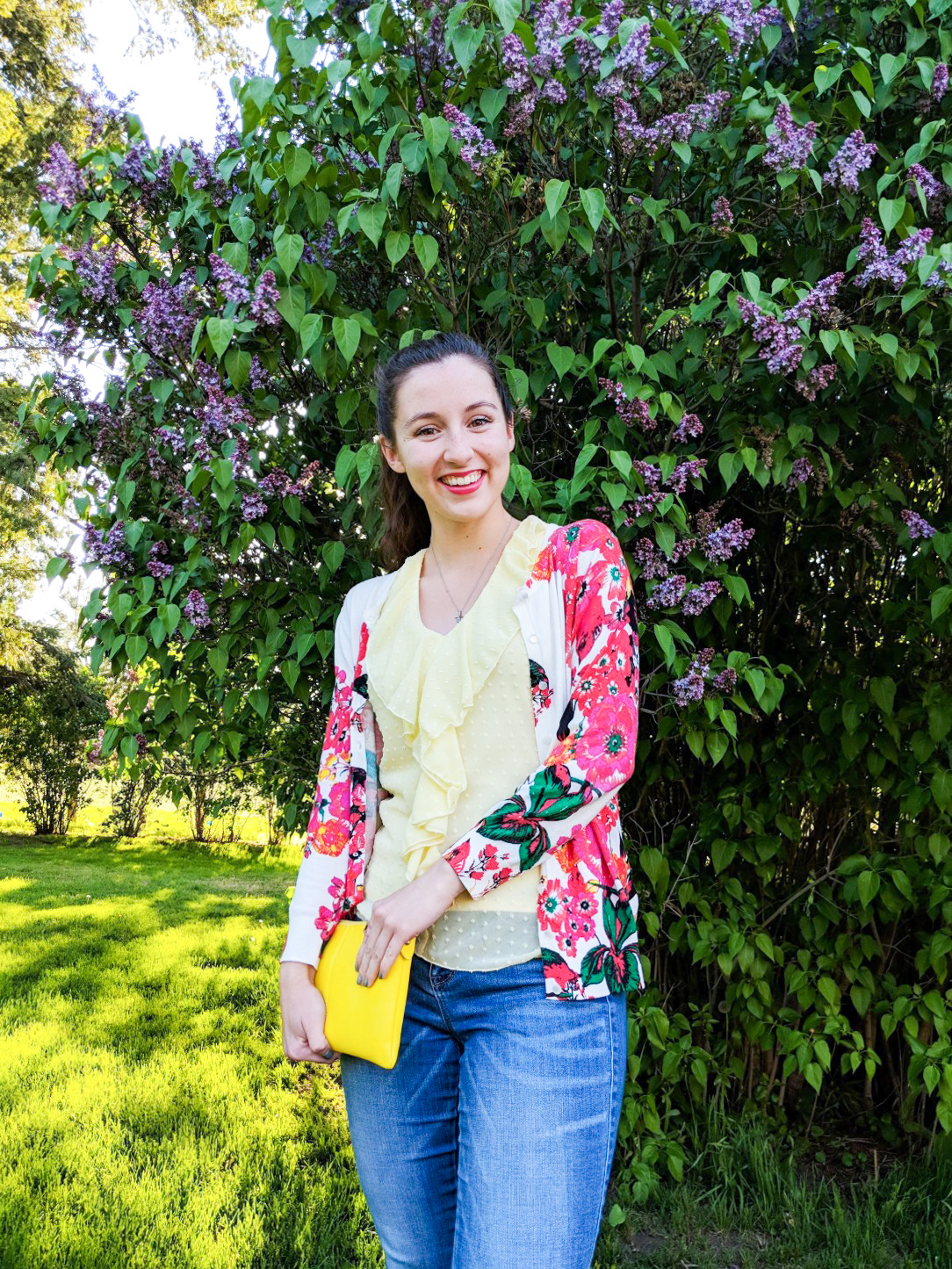 spring outfits, floral cardigan, yellow blouse, pink lipstick