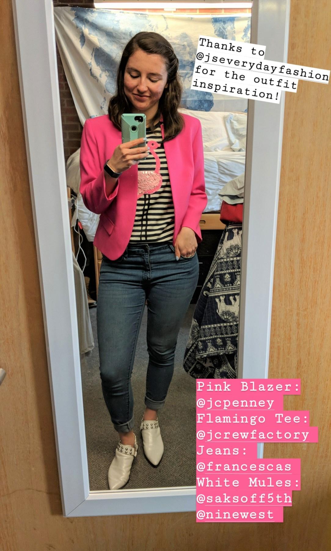 striped flamingo tee, pink blazer, skinny jeans, white mules