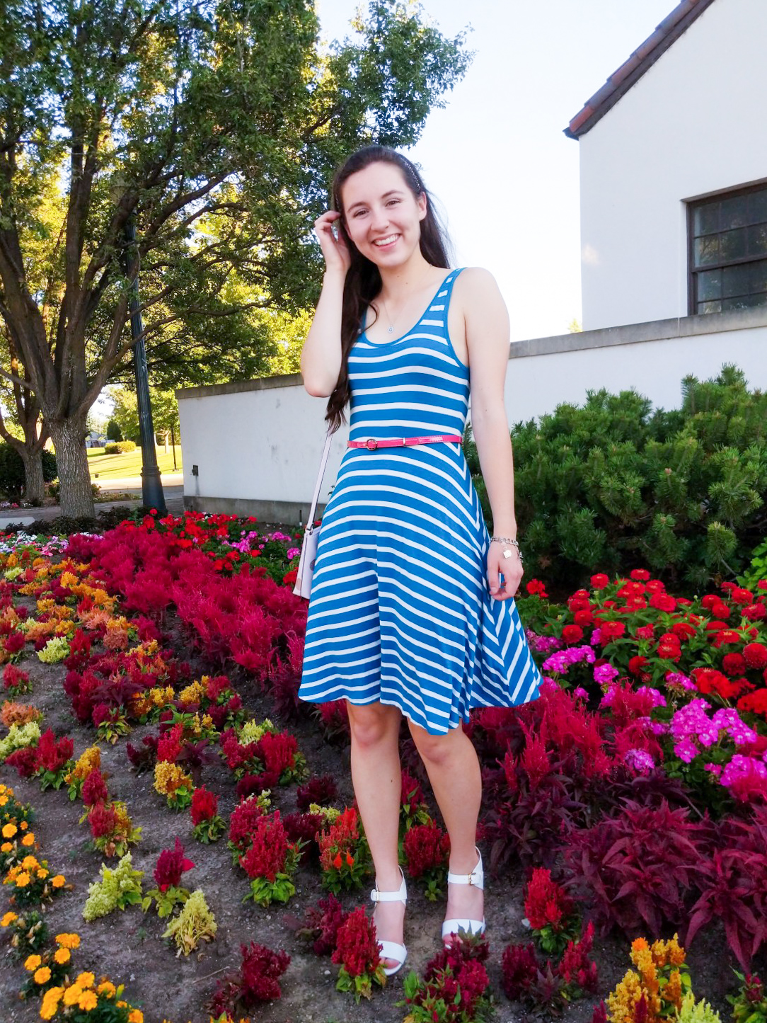 teal striped dress, Old Navy, pink belt, white shoes