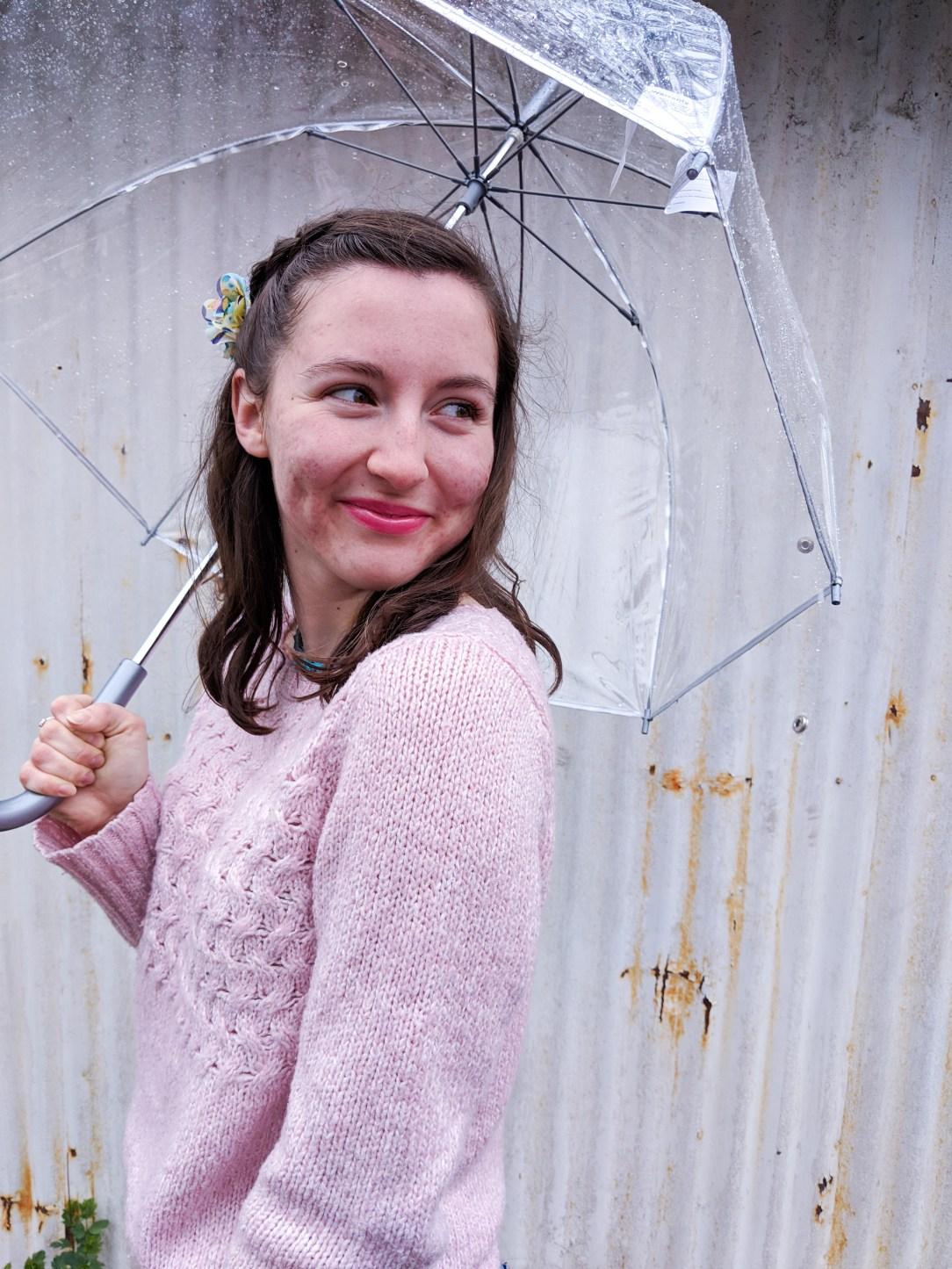 pink lipstick, pink sweater, spring dressing