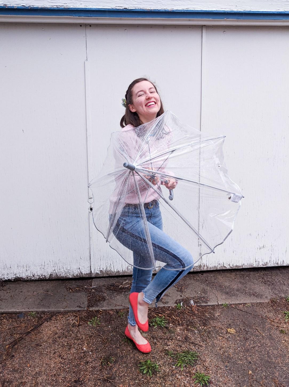 clear umbrella, dancing in the rain, orange flats