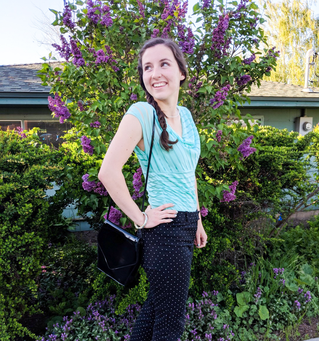teal striped blouse, polka dot pants, braided hair, spring outfit
