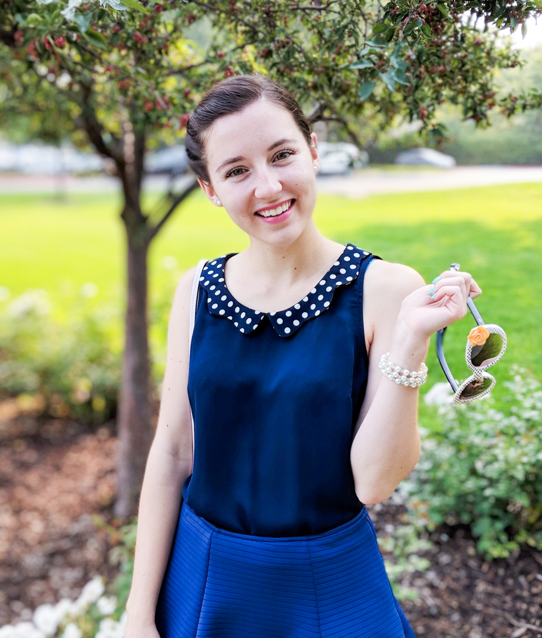 polka dot collar, navy outfit, Easter outfit
