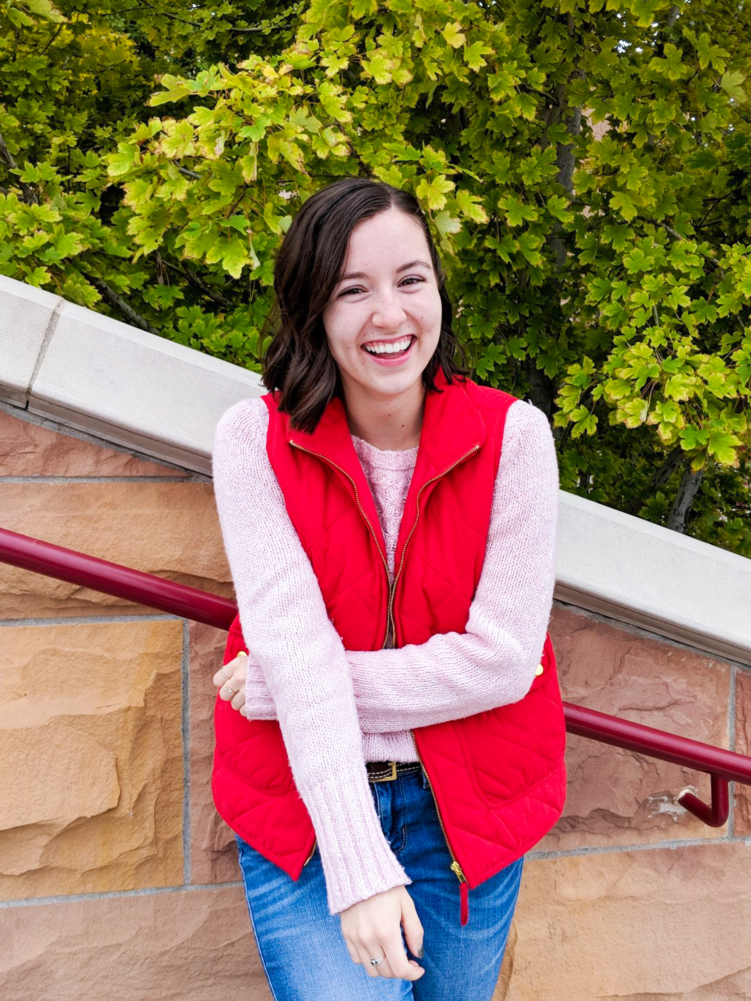 red quilted vest, pink sweater, fall outfit, spring layers