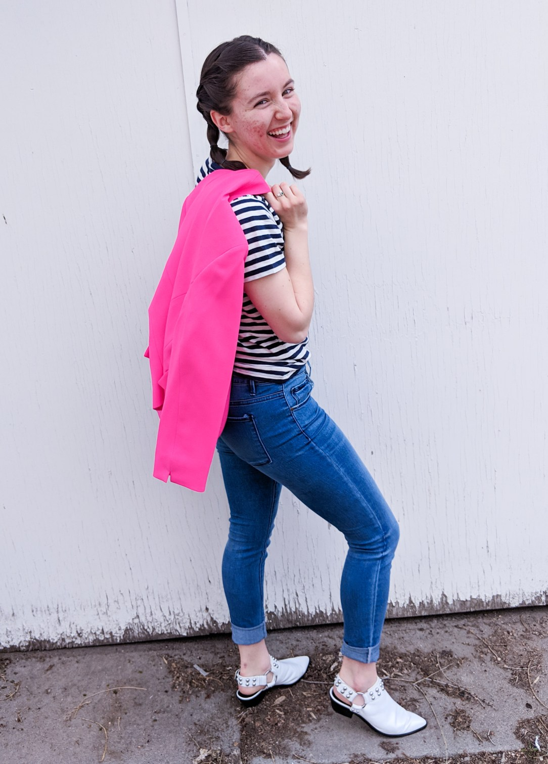 hot pink blazer, stripes tee, skinny jeans