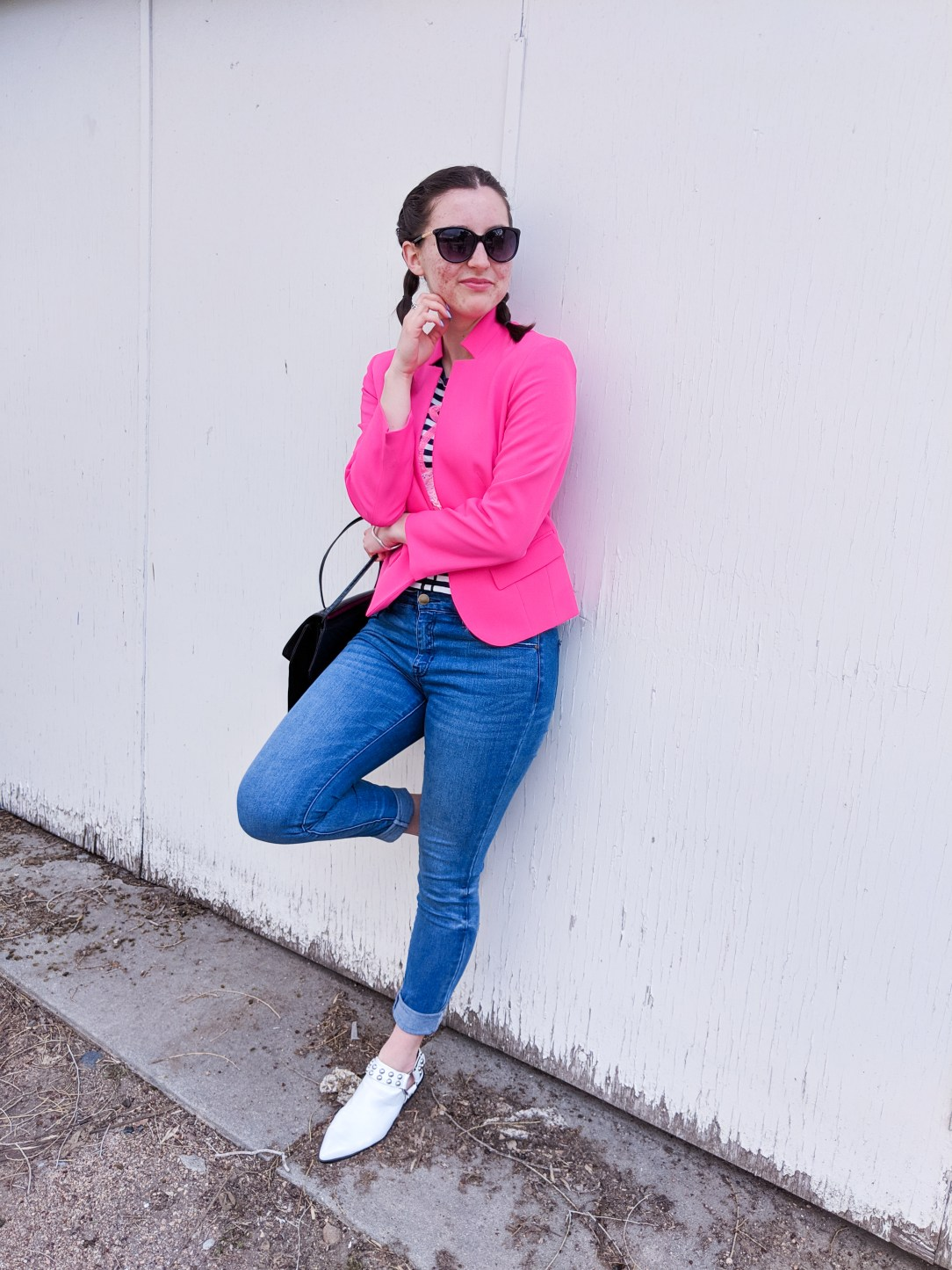 hot pink blazer, skinny jeans, white mules