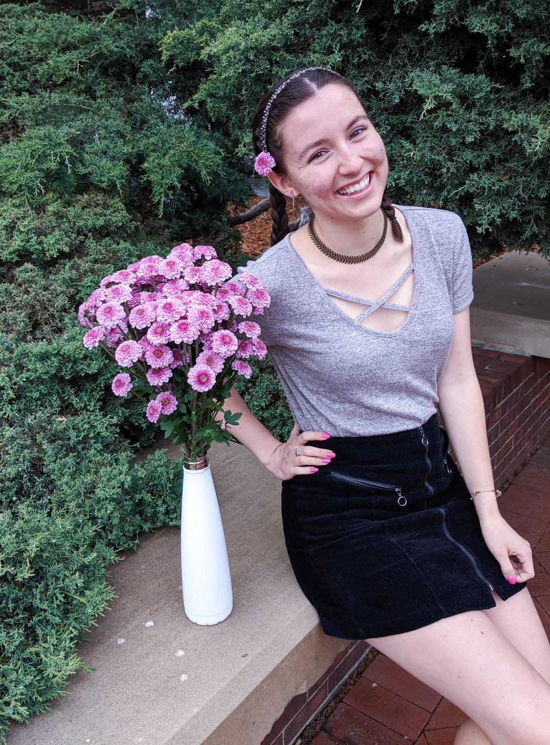 flowers in my hair, sparkly headband, black strappy tee, black mini skirt