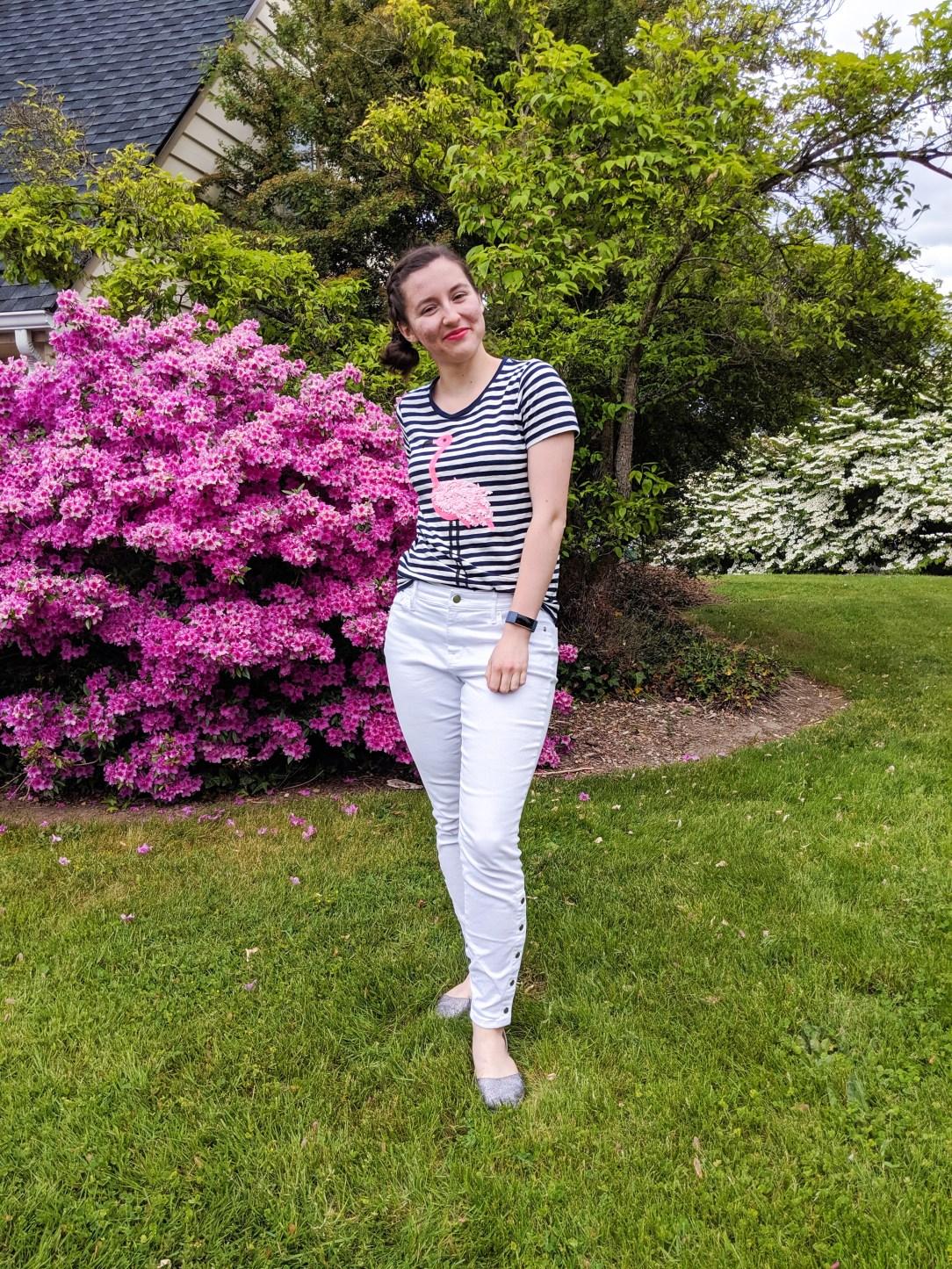 striped pink flamingo t-shirt, white jeans