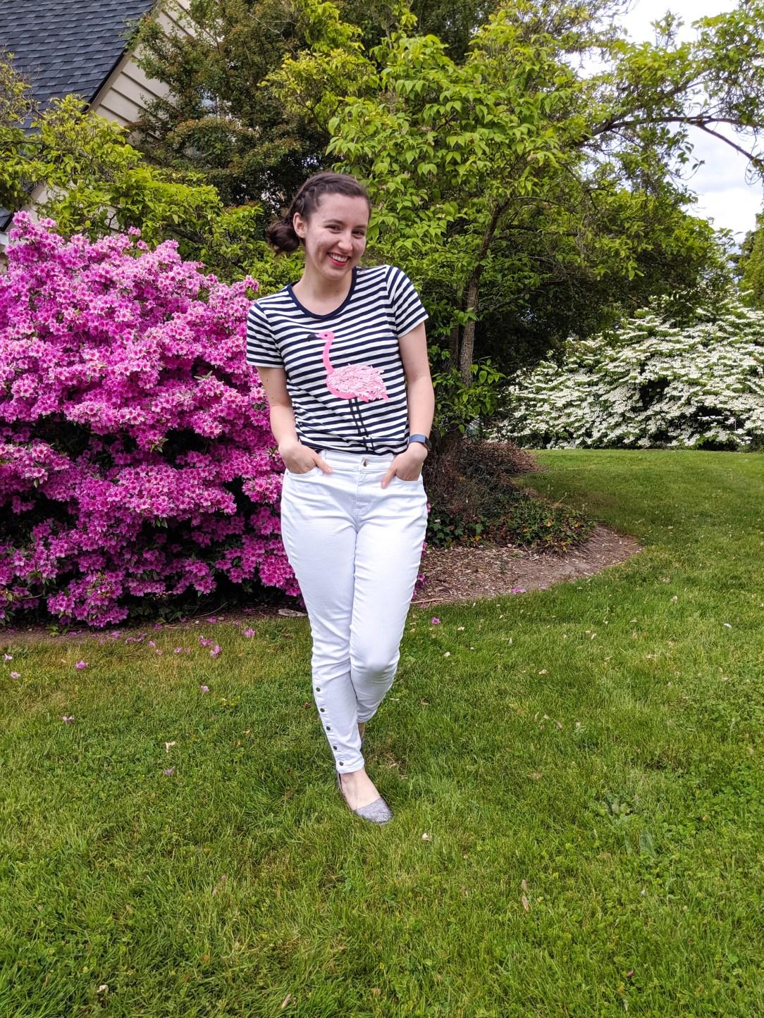 side bun, striped tee, flamingo print, white jeans