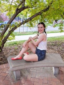 spring outfit, polka dot shorts, colorful spring outfit