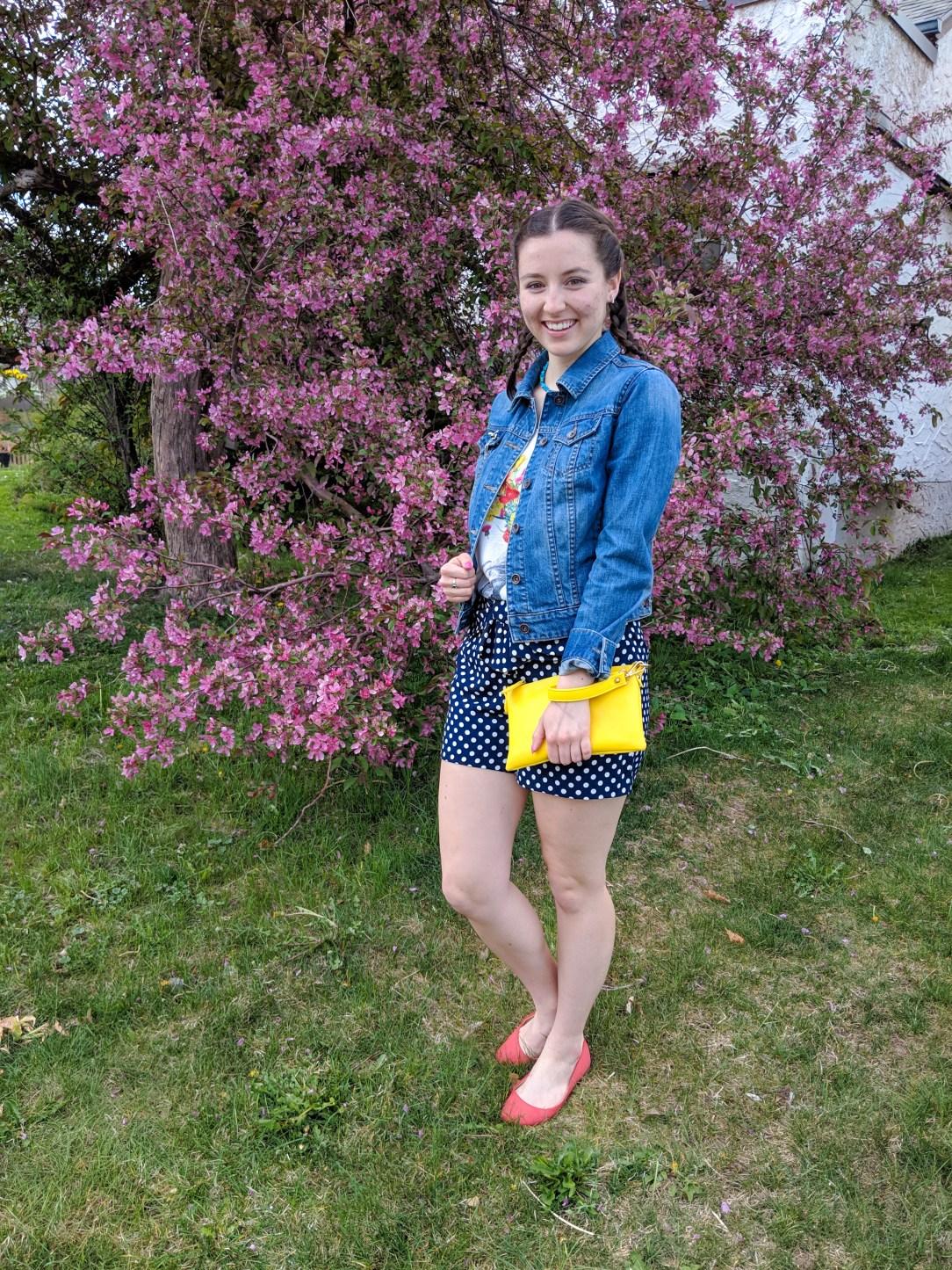 jean jacket, polka dot shorts, yellow purse, orange flats, spring outfit