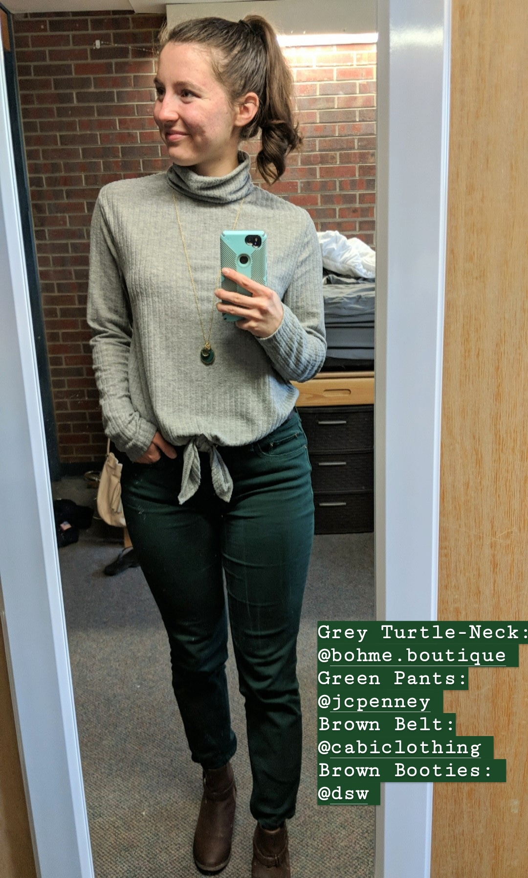 grey turtleneck, green pants, brown booties