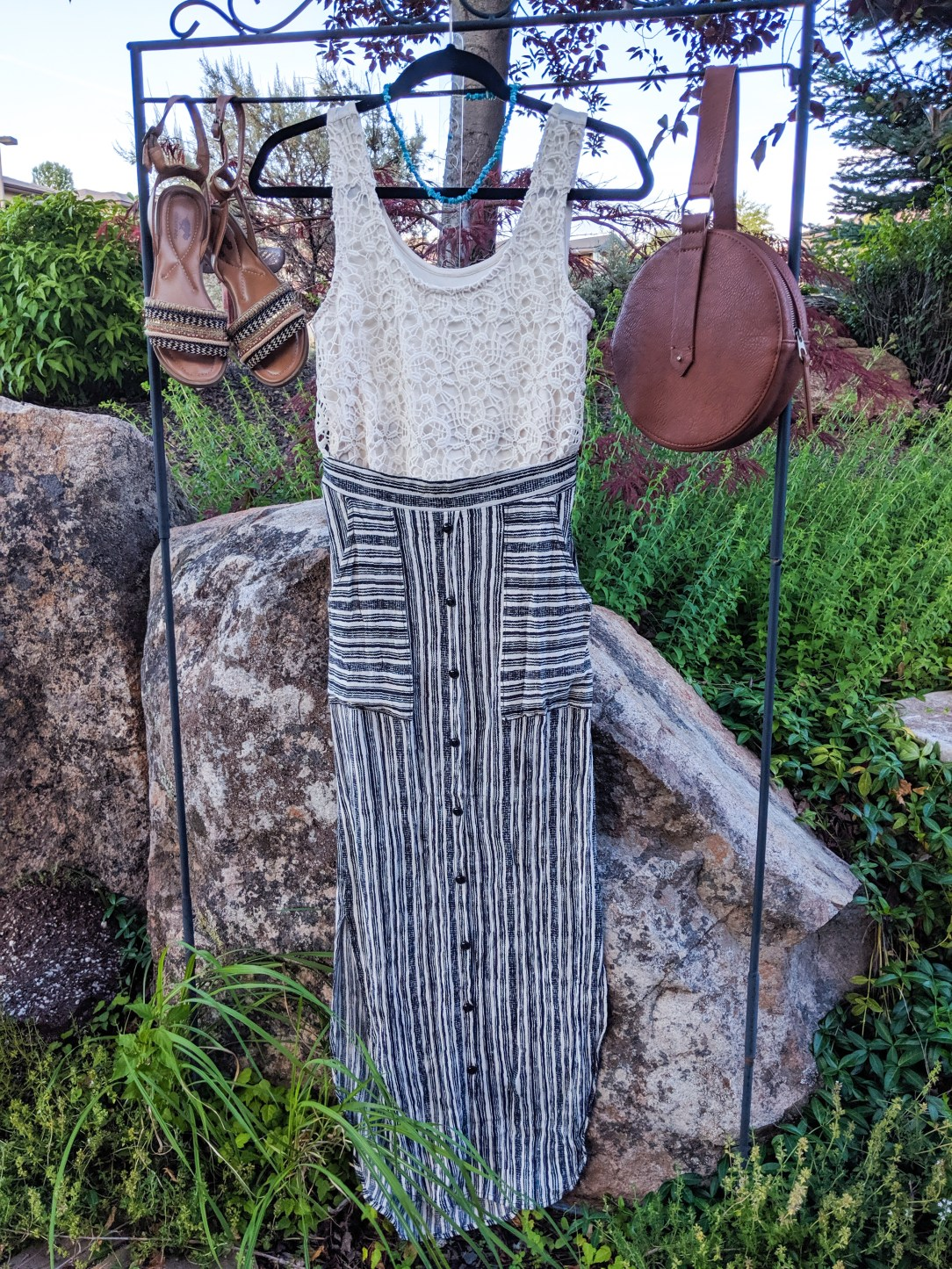 creme lace top, striped maxi skirt, brown accessories