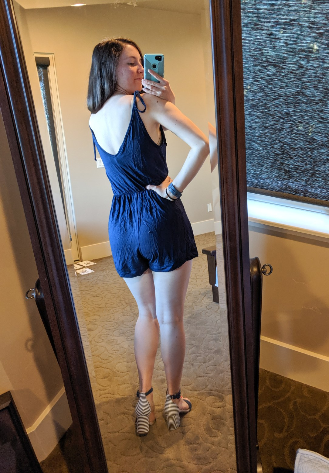 navy romper from Francesca's